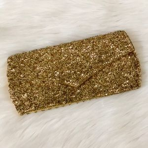 Vintage La Regale Gold Beaded and Sequined Clutch